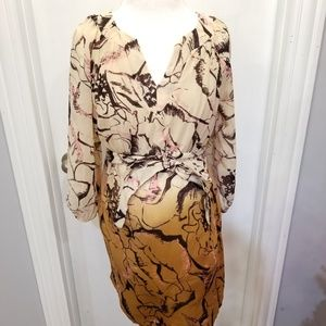 Maternity Sheer Floral Blouse Beige Tan Ombre